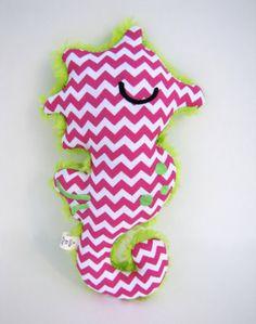 Plush Seahorse Doll Gift Toy Pink White Green by ALittleBitofJoy