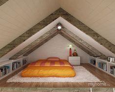 attic renovation on a budget Attic Bedroom Small, Attic Bedroom Designs, Attic Bedrooms, Attic Loft, Loft Room, Attic Spaces, Bedroom Loft, Attic Design, Attic Bathroom