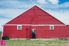 Engagement picture by the big red barn!