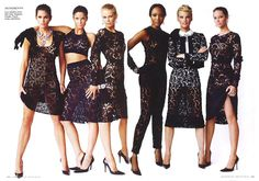 """The Icons: Christy Turlington,Cindy Crawford,Claudia Schiffer,Linda Evangelista,Naomi Campbell&Stephanie Seymour in """"A League of Their Own"""" - Vanity Fair, September 2008."""