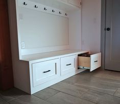 ana white The easiest way to build a mudroom bench with drawers. Free plans by Mudroom Cabinets, Entryway Cabinet, Entryway Decor, Foyer, Entryway Bench, Entryway Closet, Entryway Ideas, Diy Cabinets, Bench With Drawers