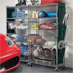 Garage Shelves Organization Systems Metallic-finished Sports Shelving with Pull-out Bins: Metal garage shelves and storage solutions and a sports car, nice! Garage Storage Systems, Garage Storage Cabinets, Garage Shelving, Garage Shelf, Diy Garage, Garage Ideas, Basement Storage, Basement Ideas, Carport Storage