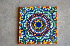 "124 Mexican Talavera Tiles handmade, Hand painted 4 ""X Mexican Style Decor, Mexican Kitchen Decor, Mexican Art, Mexican Tiles, Tile Art, Mosaic Art, Painted Pots, Hand Painted, Talavera Pottery"