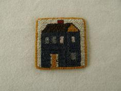 Hooked mug rug / coaster  blue house by excitablegirl on Etsy, $12.95