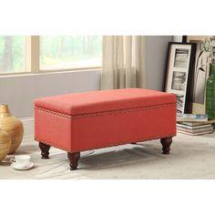 Good Kinfine Red Linen Nailhead Trim Storage Bench   Overstock™ Shopping   Great  Deals On HomePop