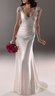 02c57311705c0 Elegant V-neck Beading Sleeves Wedding Dress for Older Brides Over 40