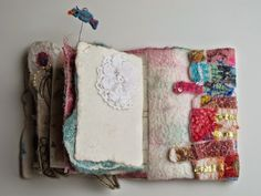 a little peek, at the inside of my felted book by Amore Fecit Journal Covers, Journal Pages, Textile Fabrics, Textile Art, Wet Felting, Needle Felting, Fabric Journals, Art Journals, Fabric Art
