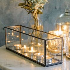 Long Glass Tea Light Holder - Candles & Holders - Home Decoration - Home Accesso., Home Accessories, Long Glass Tea Light Holder - Candles & Holders - Home Decoration - Home Accessories. Candle Box, Candle Lanterns, Glass Candle, Pillar Candles, Candle Holders, Mirror Candle, Tea Light Candles, Casa Hygge, Close Up