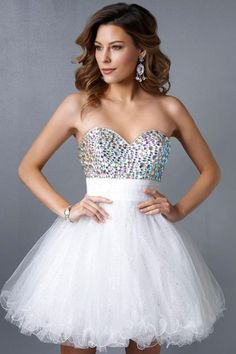 2015 Sweetheart A Line Short/Mini Homecoming Dress Tulle With Beads And Ruffles