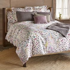 """ALPINE MEADOWS DUVET COVER--This cheerful, all-cotton, printed duvet cover brings an air of contentment morning or evening with its watercolor-like impression. Button closure. Imported. Full/Queen, 88""""W x 88""""L"""