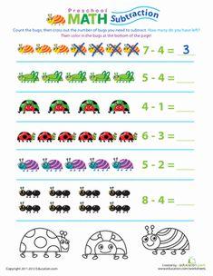 Preschool Math: Take Away the Bugs | Worksheet | Education.com