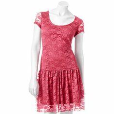 Ultra Flirt Drop Waist Lace Dress - Juniors