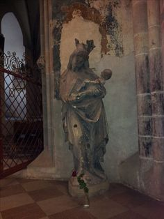 Old statue of Our Lady in the Münster church of Ulm, Württemberg