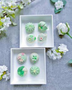 Since I love life, I love the color green. Japanese Candy, Japanese Sweets, Japanese Food Art, Beautiful Desserts, Cute Desserts, Wagashi Recipe, Eclairs, Japanese Wagashi, Kawaii Dessert