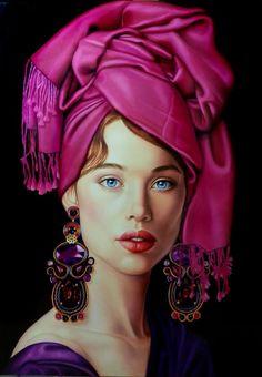 Oil painting by Patrizia Rizzo Woman Painting, Painting & Drawing, Images D'art, Relationship Drawings, Art Visage, L'art Du Portrait, Art Watercolor, Painted Ladies, Face Art
