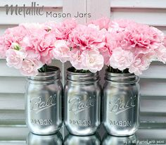 metallic look mason jars, crafts, mason jars, painting, I used Valspar s shiny metallic silver spray paint to give my mason jars a metallic look