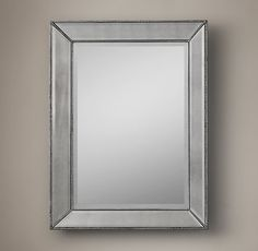 RH's Venetian Beaded Mirror:Our mirror features broad beveled glass embraced by a mirrored frame that's accented with metallic-toned cast resin beading.
