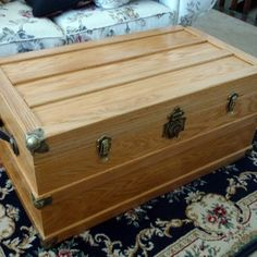 Adorn your steamer trunk with our attractive antique brass locks, catches, corners and real leather handles. Old Trunks, Trunks And Chests, Shoe Storage Trunk, Pirate Treasure Chest, Box Hinges, Steamer Trunk, Rockler Woodworking, Small Boxes, Casket