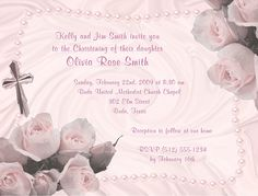 Baptism Christening First Communion Religious Pink Girl Invitations 2