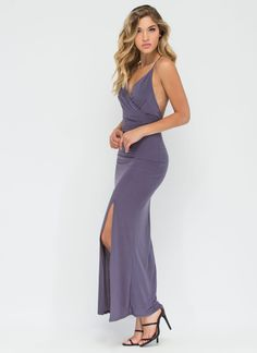 This breathtaking slit maxi dress is ideal for a romantic dance under the starry night sky. #gray #maxi #dress #sexy #romantic #inspo #ootn #datenight #fashion #gojane