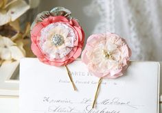 Coral Pink Floral Hairpins Bridal Hair by rosyposydesigns on Etsy
