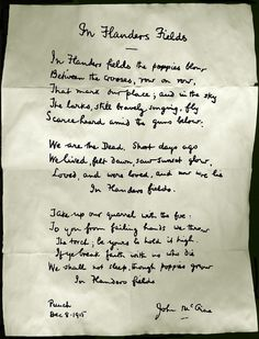 """In Flanders Fields"" poem by John McCrae, 1915"