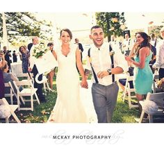 The aisle exit is such a awesome moment to capture! Here's one of Paige & Alex totally enjoying the excitement after their ceremony #wedding #mckayphotography