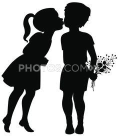 Stock Illustrations: Vector Silhouette Illustration Of A Little Girl Leaning