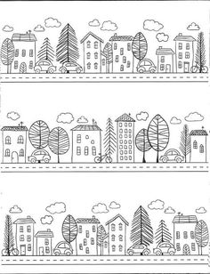 Pin by Cynthia Aung on Doodles House Colouring Pages, Coloring Book Pages, Doodle Drawings, Doodle Art, Valentines Day Coloring, House Quilts, House Drawing, Doodle Designs, Colorful Drawings
