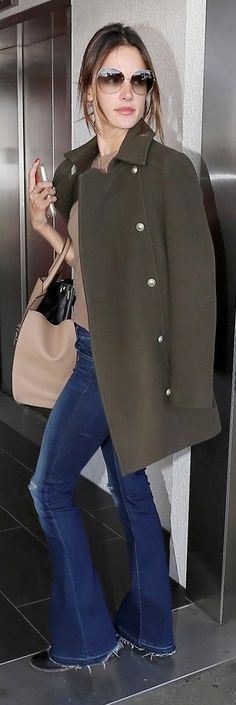 Military Coat And Flare Denim Outfit Idea