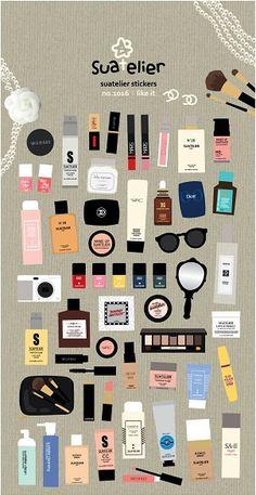 Makeup Stickers | IWP Stickers| Erin Condren Planner Sticker | Kawaii Makeup Sticker | Kikki K | InkWELL | Chanel Sticker | Filofax | K39.15