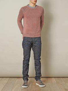 Pink and neon-orange cotton-blend sweater with a crew neck, ribbed neckline, hem and cuffs. Update your knitwear with the distinctive cool edge of this Marc by Marc Jacobs sweater, a fresh and original approach to dressing.  Shown here with Lanvin Lace-up trainers, Prps Noir Fury jeans and Rag & Bone Confetti pocket T-shirt.