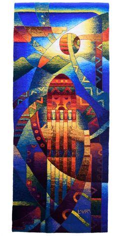 "Tapestry ""Musician With Antara"" | 0.60m x 1.24m / Tapiz ""Musico Con Antara"" | 0.60m x  1.24m / Contact : numitorh@museomaximolaura.com - p.soldi@museomaximolaura.com #tapestry #art #peru #museum #artgallery #textileart"