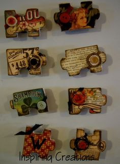 Magnets made out of puzzle pieces. Use large kids puzzle pieces and decoupage with scrapbook paper Puzzle Piece Crafts, Puzzle Art, Puzzle Pieces, Game Pieces, Crafts To Make, Fun Crafts, Crafts For Kids, Arts And Crafts, Paper Crafts