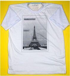 bc61e8e8b3 A Camiseta Paris leva você ao romantismo francês com o desenho da Torre  Eifel um dos símbolos da França.- Cor Branca - 100% Algodão