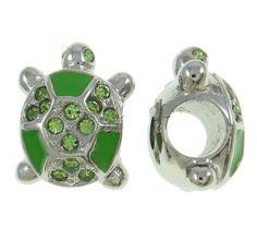 Amazon.com: Stainless Steel Green Rhinestone Turtle Charm Bead Fits Pandora: Clothing