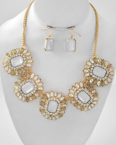 Antiqued Rhinestone Statement Necklace