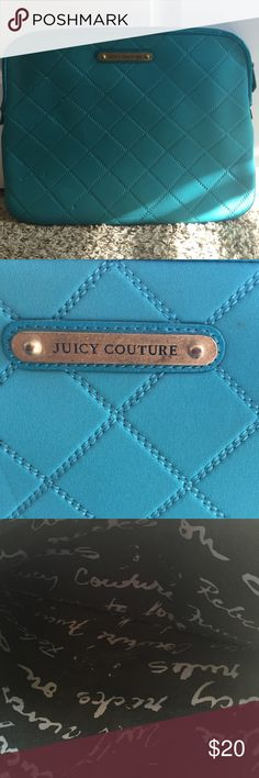 Teal Juicy Couture laptop bag! Teal Juicy Couture Laptop bag. This bag has two small spots on the front and back, but I'm sure could be removed with a little spot cleaning. Barely noticeable! Make me an offer! 😀 Juicy Couture Bags Laptop Bags