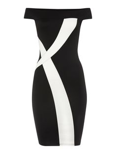 Jessica Wright Off Shoulder Monochrome Bodycon Dress, Black/White