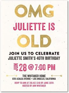 Unbelievable Age - Adult Birthday Party Invitations in Begonia or Aqua   Jill Smith