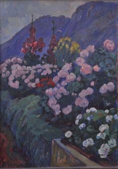 Peinture Algérie - Paysage fleuri à Miliana Augustin Ferrando