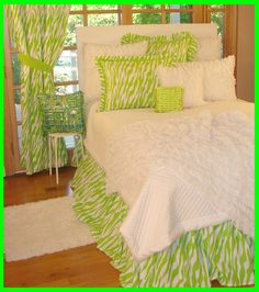 Teen Girls Bedding in Lime Green Zebra