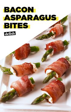Bacon Asparagus Bites - Bacon Asparagus Bites are creamy, crunchy, and salty ALL at the same time. Get the recipe at Delish - Bacon Recipes, Low Carb Recipes, Cooking Recipes, Healthy Recipes, Healthy Meals, Cooking Tips, Healthy Food, Yummy Food, Bacon Appetizers