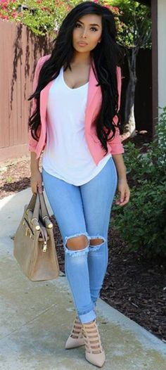 61 astonishing ripped jeans outfit ideas fashionista my pers Mode Outfits, Jean Outfits, Casual Outfits, Look Fashion, Girl Fashion, Fashion Outfits, Womens Fashion, Look Legging, Ripped Jeans Outfit