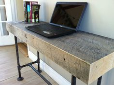 Weathered barnwood desk modern industrial style by scottcassin, $675.00 Wonderful description of our New England sawmills and wood weathering.