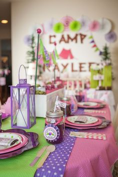 Glam camping birthday party table