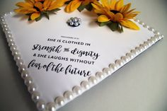 Sunflower & Pearls Quote Graduation Cap by 329DormDecor on Etsy