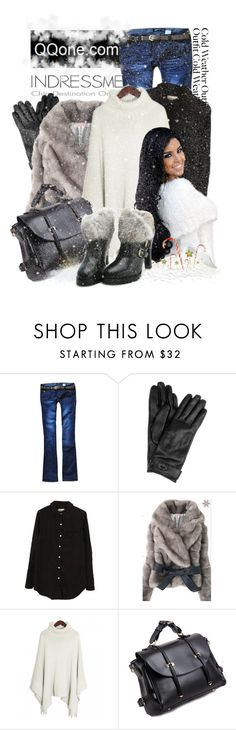 """""""Cold Weather Outfit"""" by keti-lady ❤ liked on Polyvore featuring Mulberry, faux fur, belted coats, 2012, ankle booties, grey, jeans, gloves, white and black"""
