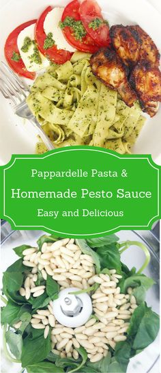 This quick and easy basil pesto recipe with pappardelle pasta is perfect for weeknights.  via @spoonsstilettos