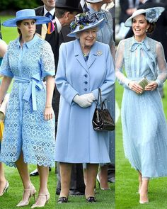 Royal Ascot outfits!  The Queen wore an Angela Kelly corn flower blue coat and hat. The Duchess of Cambridge wore an Elie Saab ensemble…